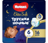 Ночные трусики Huggies® Elite Soft 6  (15-25 кг) 16 шт