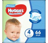 Подгузники Huggies Ultra Comfort для мальчиков 4 (8-14 кг) 66 шт.