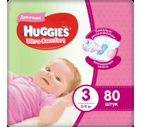 Подгузники Huggies Ultra Comfort для девочек 3 (5-9 кг) 80 шт