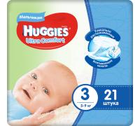 Huggies Ultra Comfort для мальчиков 3 (5-9 кг) 21шт.