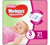 Подгузники Huggies Ultra Comfort для девочек 3 (5-9 кг) 21 шт