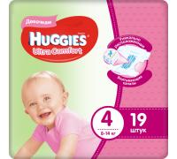 Подгузники Huggies Ultra Comfort для девочек 4 (8-14 кг) 19шт