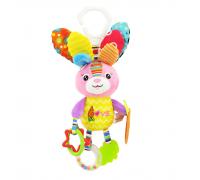 Мягкая развивающая игрушка-подвеска Зайчик Happy Monkey для колясок и автокресел