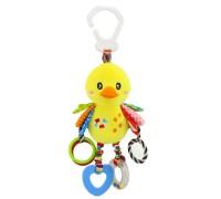 Мягкая развивающая игрушка-подвеска Утенок Happy Monkey для колясок и автокресел