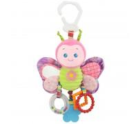Мягкая развивающая игрушка-подвеска Бабочка Happy Monkey для колясок и автокресел