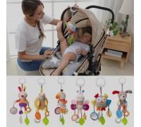 Мягкая развивающая игрушка-подвеска Happy Monkey для колясок и автокресел МИКС
