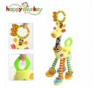 Мягкая развивающая игрушка-подвеска Жираф Happy Monkey для колясок и автокресел 36 см