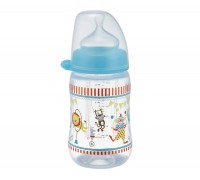 Бутылочка антиколиковая NIP, Цирк 0+ мес голубой 260 мл соска силиконовая ортодонтическая