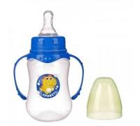 Бутылочка для кормления «Дино» детская приталенная, с ручками, 250 мл, от 0 мес., цвет синий