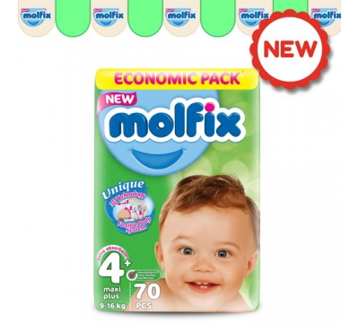 Подгузники Molfix Maxi Plus 4+ (9-16кг) 70 шт.