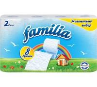 Туалетная бумага Familia, двухслойная, цвет: белый, 8 рулонов