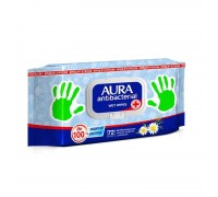 Влажные салфетки Aura  72 шт с антибактериальным эффектом