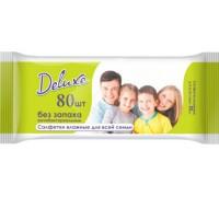 Влажные салфетки DELUXE 80 шт безх запаха антибактериальные 0+ мес