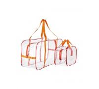 Сумки в роддом (Комплект из двух прозрачных сумок для роддома (основная - 54*33*24, дополнительная - 32*23*17)) красная