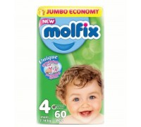 Подгузники Molfix Maxi 4 (7-14 кг) 60 шт + салфетки 60 шт