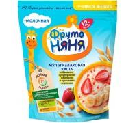 Молочная каша ФрутоНяня мультизлаковая с бананом, кукурузными хлопьями и кусочками клубники 200 гр. 12+