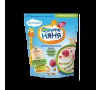 Молочная каша ФрутоНяня мультизлаковая с яблоками, кукурузными хлопьями и кусочками малины 200 гр. 12+
