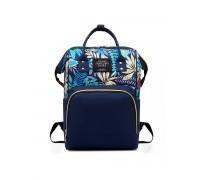Сумка рюкзак для мам синяя с листиками