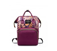 Сумка рюкзак для мам фиолетовая с листиками