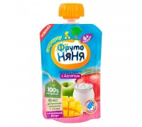 ФрутоНяня Пюре яблоко-манго с йогуртом, 6мес+, 90гр БЕЗ САХАРА