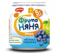 Пюре ФрутоНяня яблоко-черника 100 г с 5 месяцев