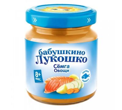 Пюре Бабушкино Лукошко семга-овощи 100 г 8+ мес