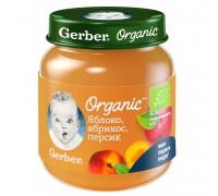 Пюре Gerber  Organic яблоко-абрикос-персик 125г с 5 месяцев