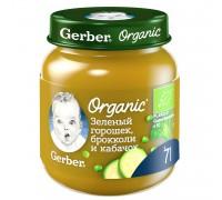 Пюре Gerber  Organic зеленый горошек-брокколи и кабачок 125г с 7 месяцев